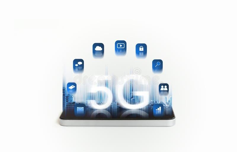 5G ασύρματο δίκτυο Ίντερνετ υψηλής ταχύτητας στην κινητή έξυπνη τεχνολογία τηλεφώνων και εφαρμογής ελεύθερη απεικόνιση δικαιώματος