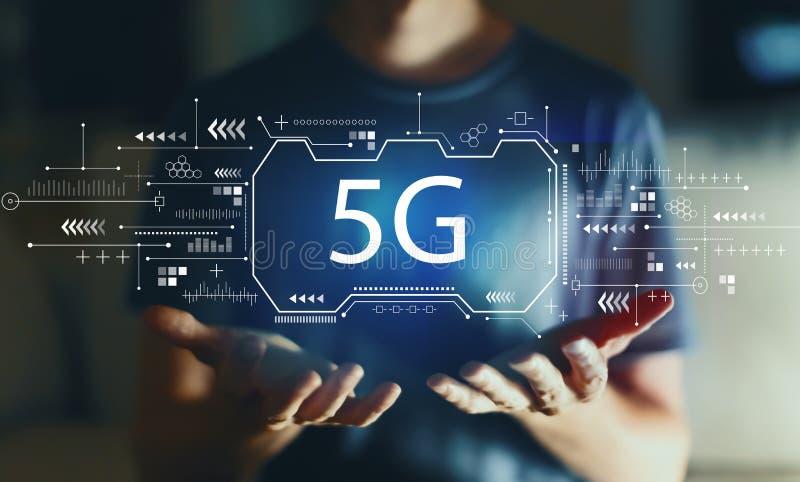 5G δίκτυο με το νεαρό άνδρα διανυσματική απεικόνιση
