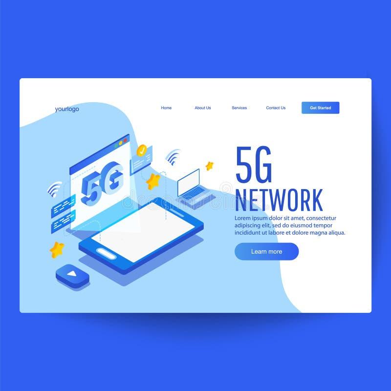 5 g ισομετρική ιδέα με μπλε smartphone, ιστοσελίδα με εγκατεστημένη σύνδεση ελεύθερη απεικόνιση δικαιώματος