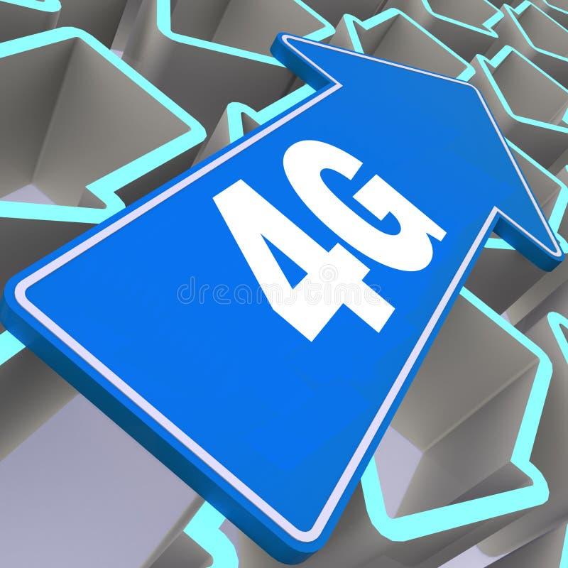 4G λέξη με το μπλε βέλος ελεύθερη απεικόνιση δικαιώματος