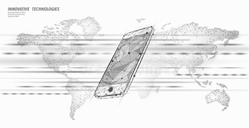 4G νέα ασύρματη σύνδεση wifi Διαδικτύου Παγκόσμιος χάρτης συσκευών Smartphone κινητός Καινοτομία υψηλής ταχύτητας παγκόσμιων δικτ ελεύθερη απεικόνιση δικαιώματος