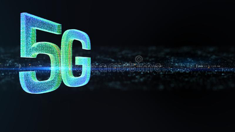5G πέμπτη καινοτόμος γενεά υψηλής ταχύτητας εικονιδίων ψηφιακή ασύρματη διανυσματική απεικόνιση