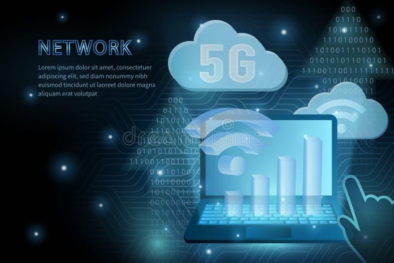 5G σύννεφο wifi τεχνολογίας και διαγώνιο υπόβαθρο προτύπων απεικόνισης γραμμών πλαισίων γεωμετρίας lap-top διανυσματικό φουτουρισ απεικόνιση αποθεμάτων