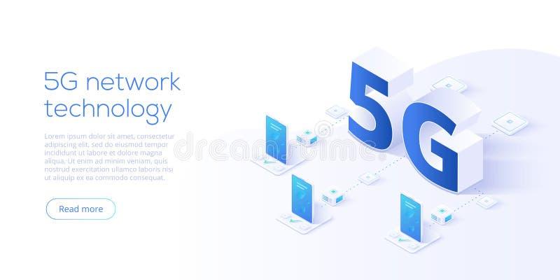 5g τεχνολογία δικτύων στη isometric διανυσματική απεικόνιση ασύρματος διανυσματική απεικόνιση