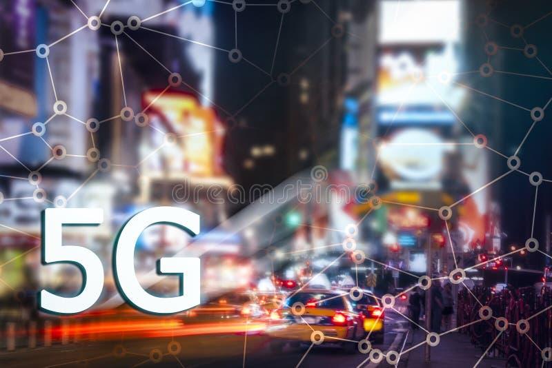 5G или представление LTE Город Нью-Йорка современный на предпосылке стоковые изображения rf