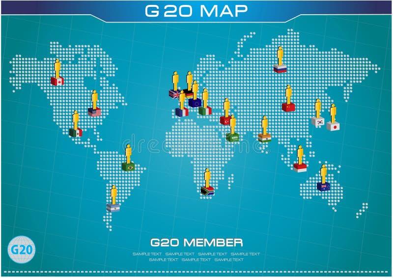 G20与被加点的世界地图的世界(经济G20国旗)的国旗或旗子 向量例证