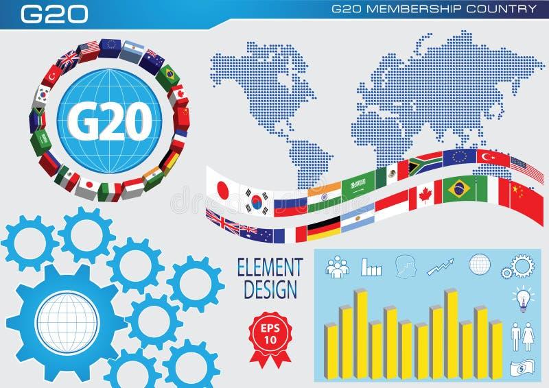 G20世界元素的国旗或旗子设计 皇族释放例证