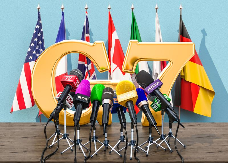 G7会议,新闻招待会概念 3d翻译 皇族释放例证