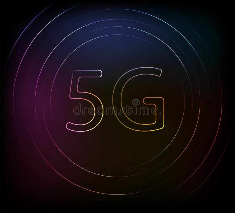 5G?? 象网络 r 氖nackground 发光的作用 5G向人的新的结触 互联网 皇族释放例证