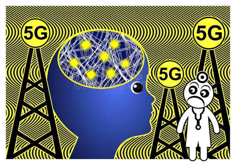 5G affect the brain royalty free illustration