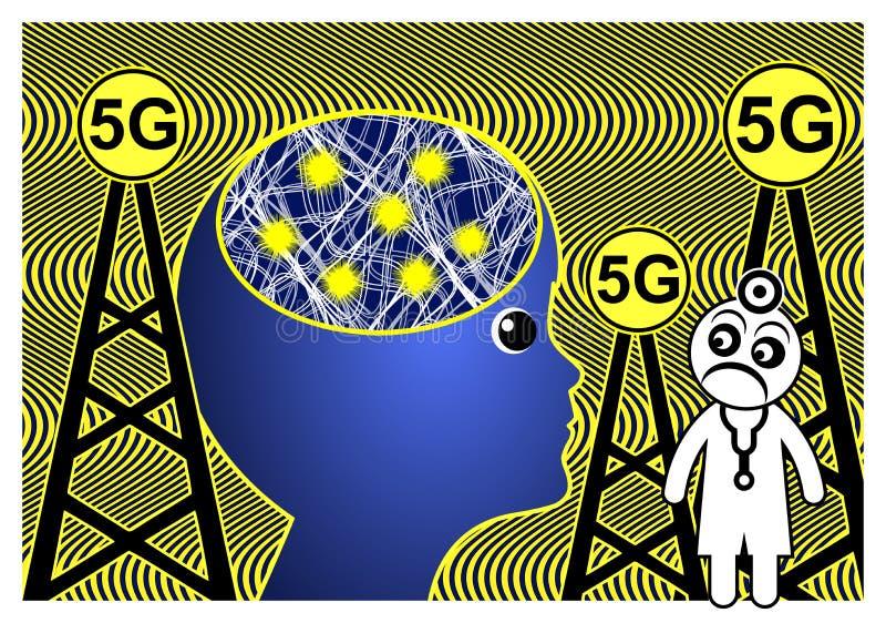 5G affectent le cerveau illustration libre de droits