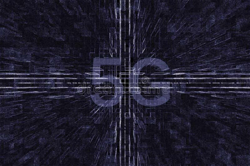 The 5G Age in the 3D square. It is a 5G Age in the 3D square.The 5G era is coming.Many things will change vector illustration