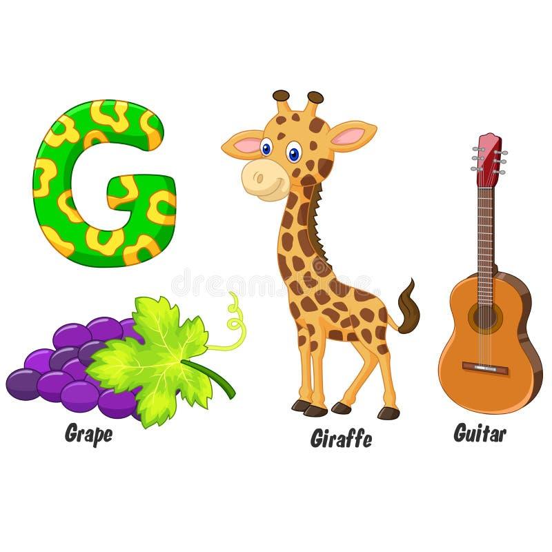 G alphabet cartoon vector illustration