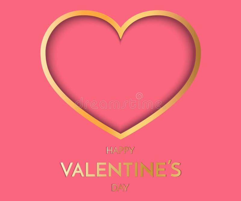 g altes Herz auf rosa Hintergrund Symbol der Liebe Valentine Day Greeting Card Festliche Karte für glücklichen Tag des Valentinsg stock abbildung