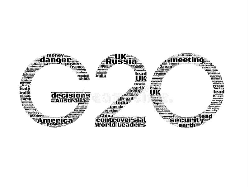 G20. Words and descriptions metaphor in black and white. Words: World Leaders, controversial, decisions, meeting, security, danger, America, Russia, Australia royalty free stock photos