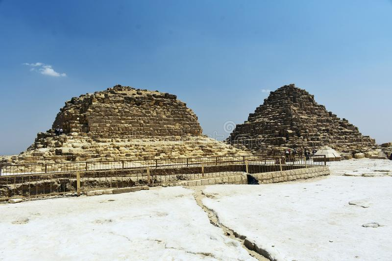 The Queen`s Pyramids, Meritites and Henutsen. G1b - Meritites, one of the three queen`s pyramids, it is not clear which queen was buried and G1c- is thought to stock image