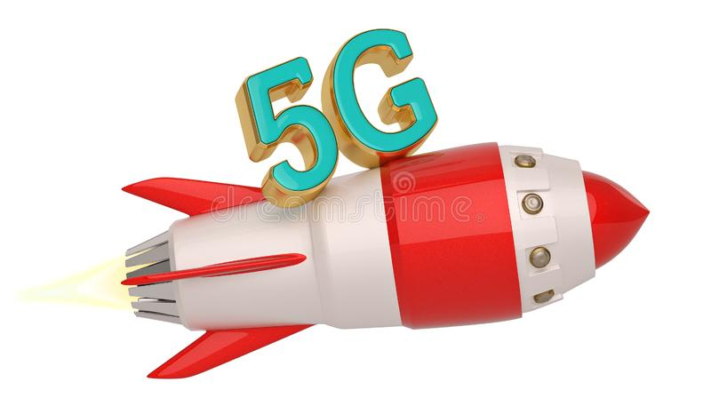 5G brand and rocket isolated on white background. 3D illustration.  stock illustration