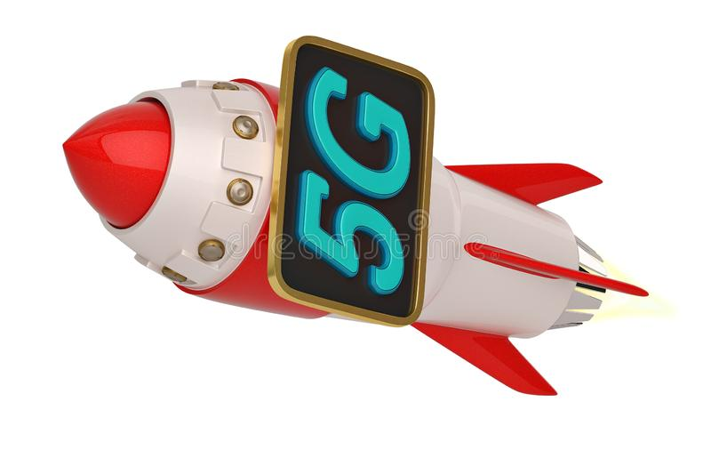 5G brand and rocket isolated on white background. 3D illustration.  royalty free illustration