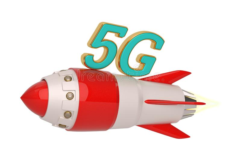 5G brand and rocket isolated on white background. 3D illustration.  vector illustration