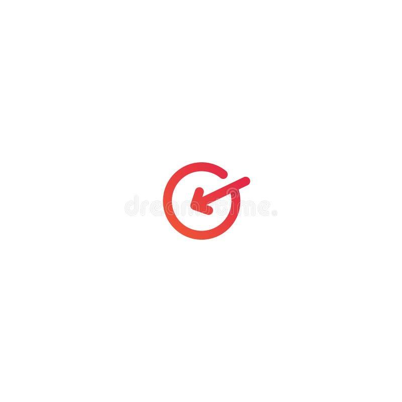 G Brief Logo Design de cirkel met pijl gaat binnen vectorpictogramillustratie vector illustratie