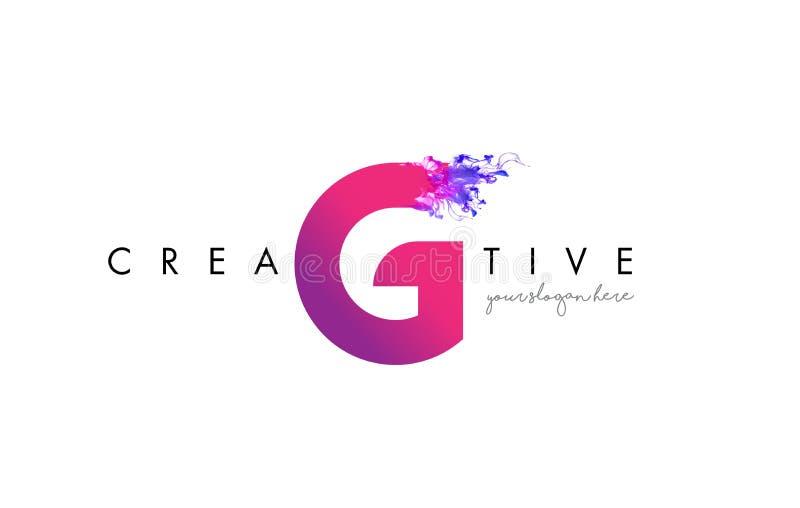 G Brief Logo Design met de Stromende Textuur van de Inktwolk royalty-vrije illustratie