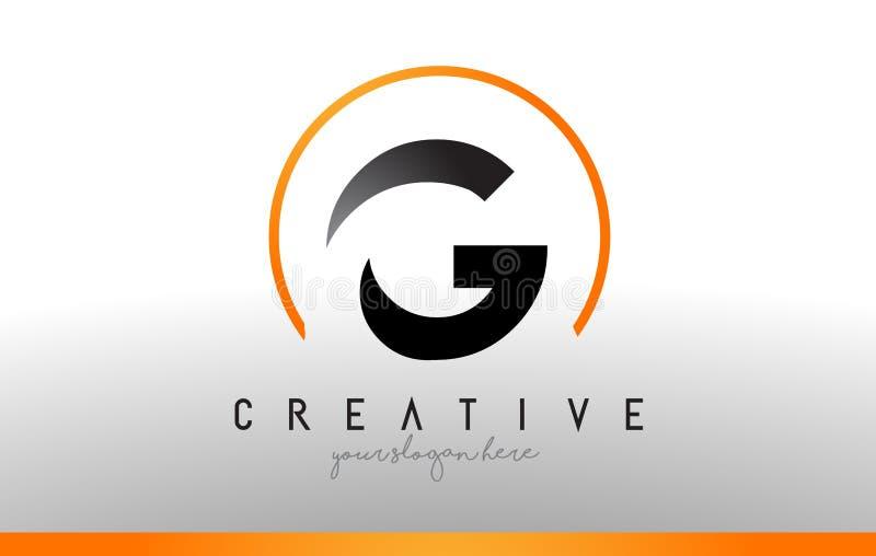 G Brief Logo Design met Zwarte Oranje Kleur Koel Modern Pictogram T stock illustratie