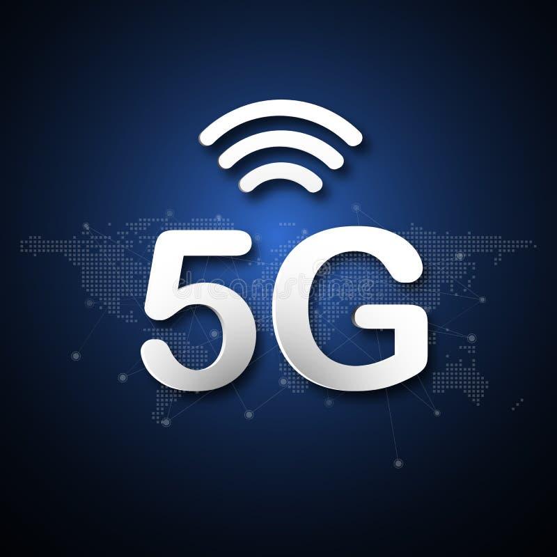 5G cellulaire mobiel communicatiemiddel abstracte achtergrond met de globale transmissie van de de puntverbinding van de netwerkl royalty-vrije illustratie