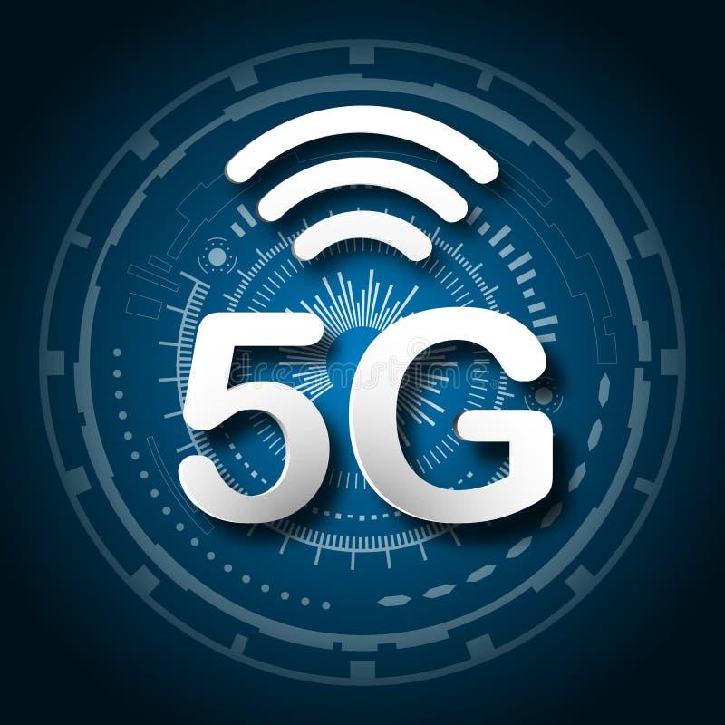 5G cellulaire mobiel communicatiemiddel blauwe embleemachtergrond met globale de verbindingstransmissie van de netwerklijn Digita vector illustratie