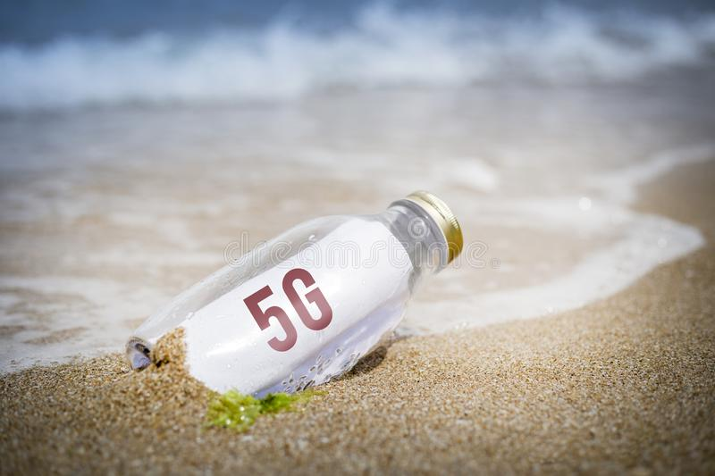 5G cellular network concept of message in a bottle stock images