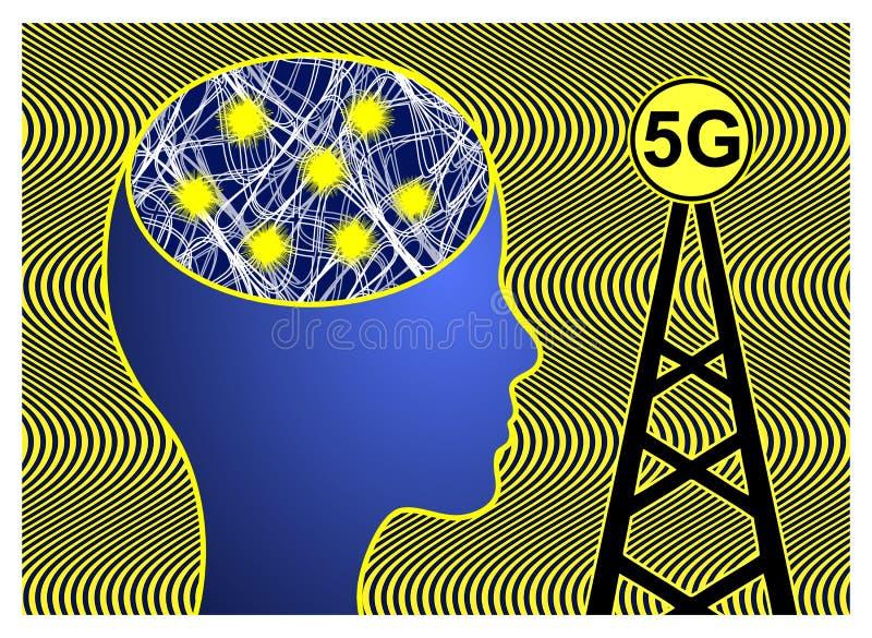 5G celtorens gevaarlijk voor gezondheid stock illustratie