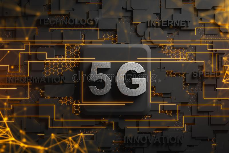 5G circuit board with immersive network hologram vector illustration