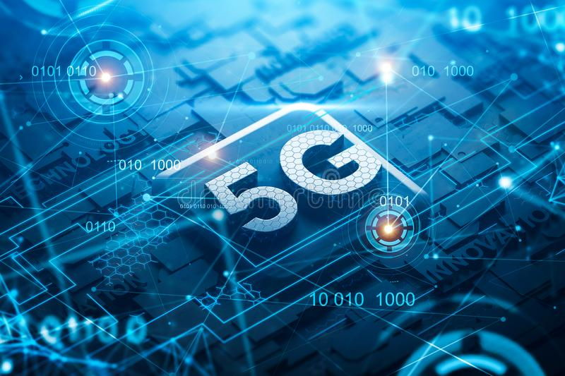 5G circuit board with network hologram and HUD stock illustration