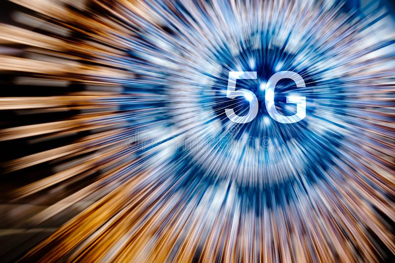 5G on a neon light radial lines background royalty free stock images