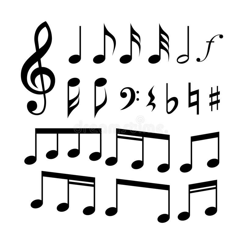 G-clave, C-clave, notas de la música y sistema del icono de los símbolos Muestras de la música ilustración del vector