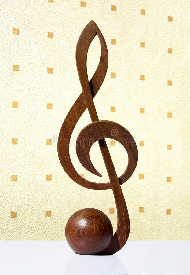 Download G-clef Icon Carved From Wood Stock Photo - Image: 33961000