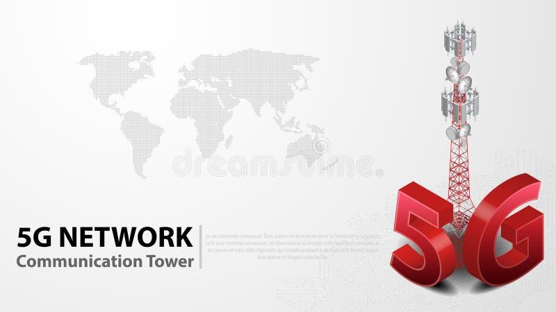 5g communicatie Toren Draadloze Hispeed Internet met Datacentrumachtergrond royalty-vrije illustratie