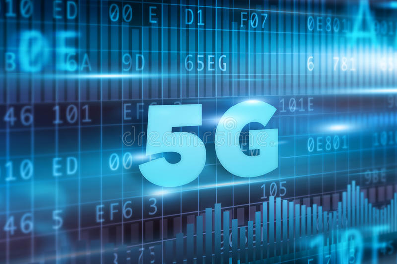 5G Concept. With blue background blue text royalty free illustration