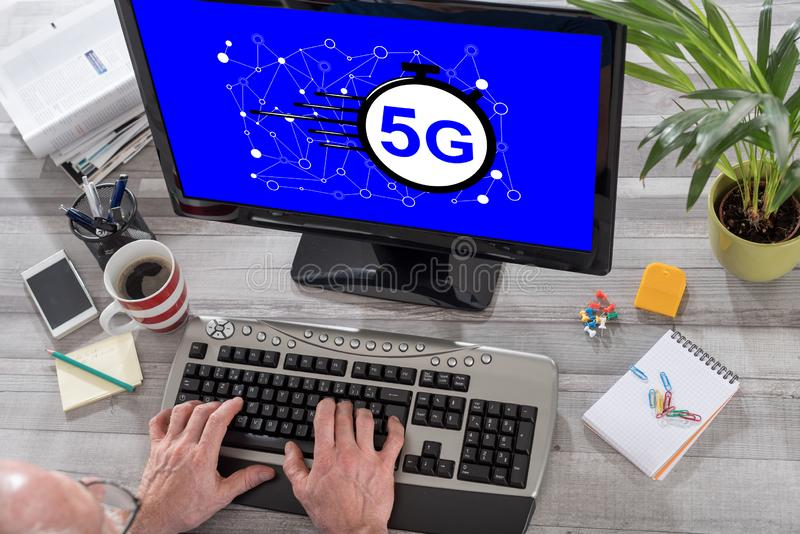 5g concept on a computer stock photography