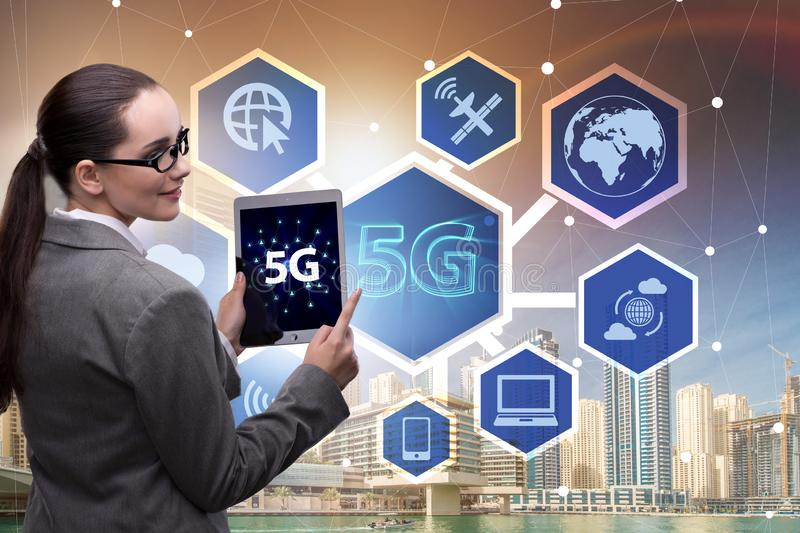 The 5g concept of internet connection technology royalty free stock photography