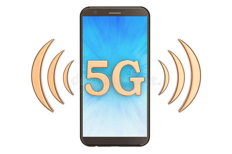 5G concept with phone, 3D rendering vector illustration