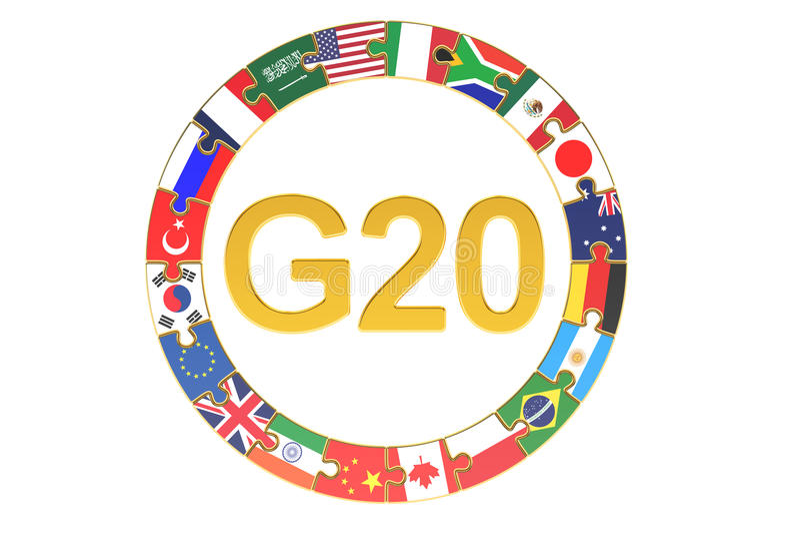 G20 concepto, representación 3D stock de ilustración