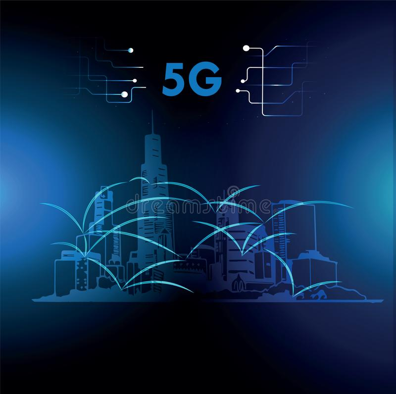 5g conexão, cidade digital, ilustração do vetor ilustração royalty free
