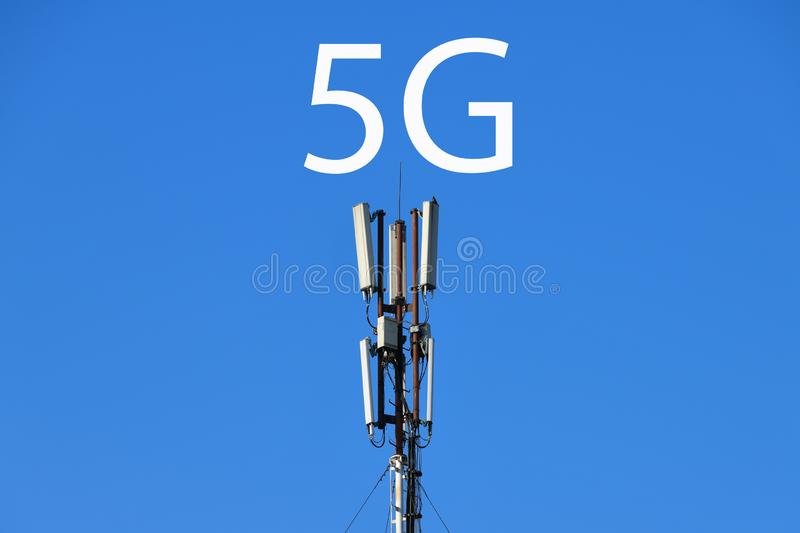 5g connection.Mobile tower. Mobile connection. High speed internet concept. technology concept of the future mobile network. Internet of things stock photography
