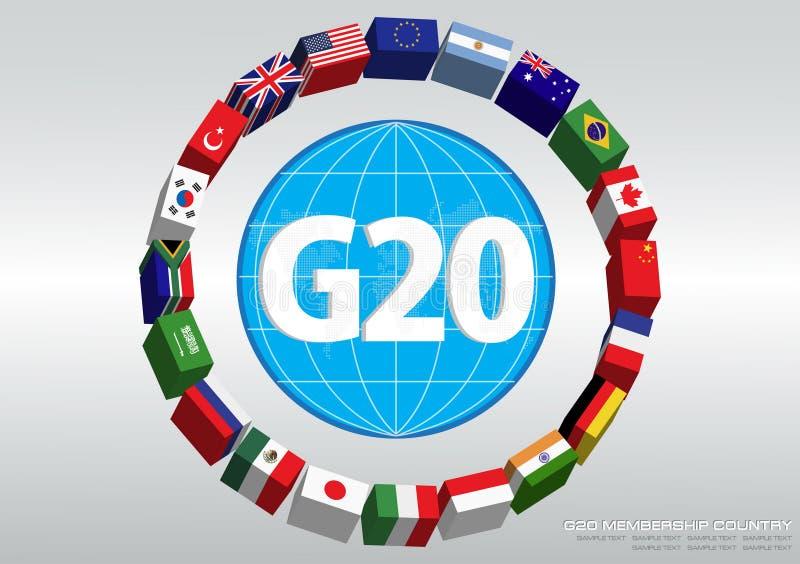 G20 de vlaggen van het land royalty-vrije illustratie