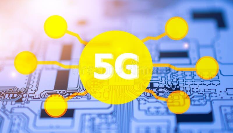 5G digital technology communication internet  design on circuit board ,PCB stock photos