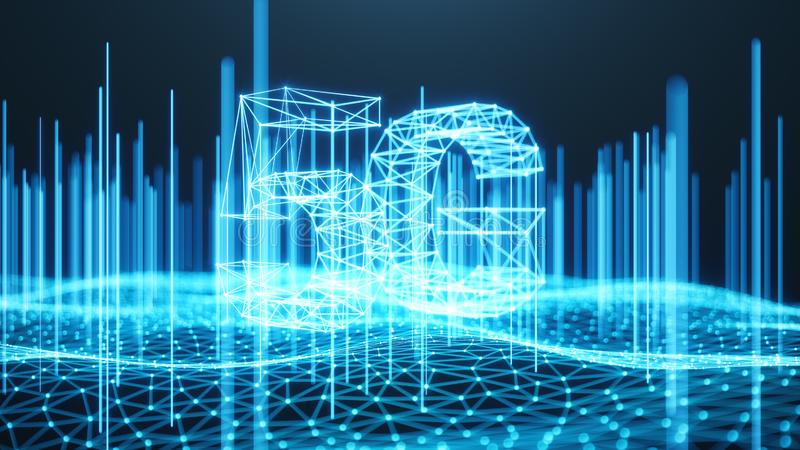 5G draadloze hoge snelheid mobiel Internet Het concept van de technologie Snelle internetdiensten - het knippen inbegrepen weg De vector illustratie