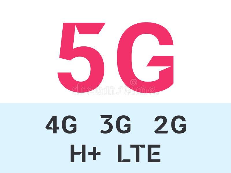 5G e iconos móviles del vector de la red de Internet libre illustration