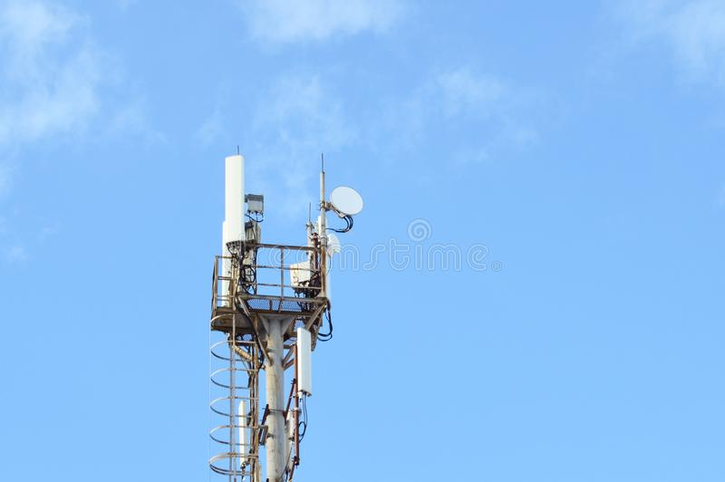 5G, 4G, 3G, EDGE, GPRS smart mobile telephone radio network GSM antenna with copy space. Concept telecommunication royalty free stock photo