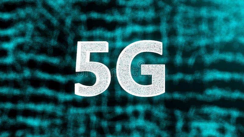 5G el contexto que brilla intensamente creativo, éste es el concepto móvil de Internet, 3d rendir ilustración del vector