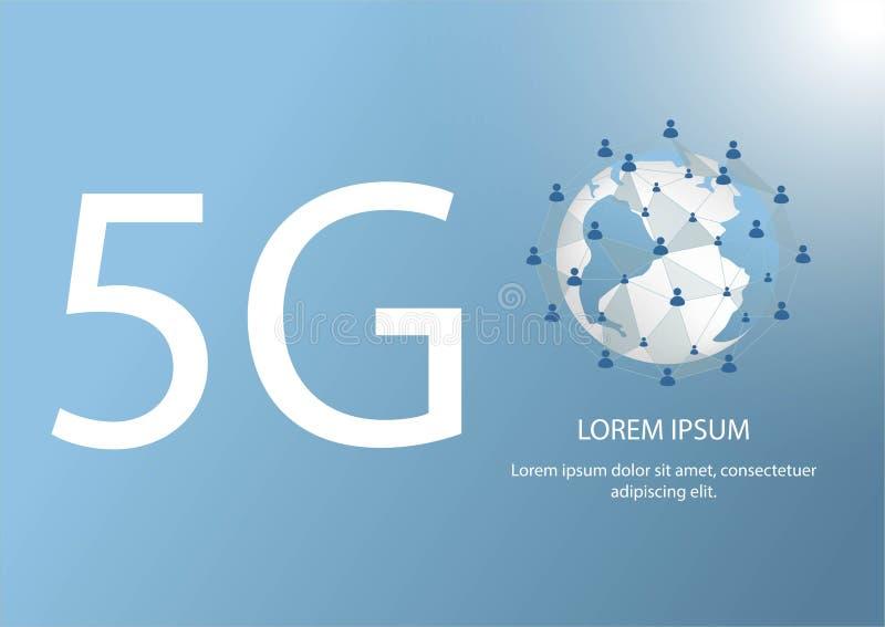 5G embleem Verbindt de veelhoek globale lijn mobiele gegevens en WiFi-pictogramsignage vorm de wereldkaart Concept voor wereldtel vector illustratie